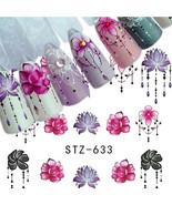 5 Sheets 3D Nail Art Transfer Sticker Flower Decals Manicure Decoration ... - $1.60