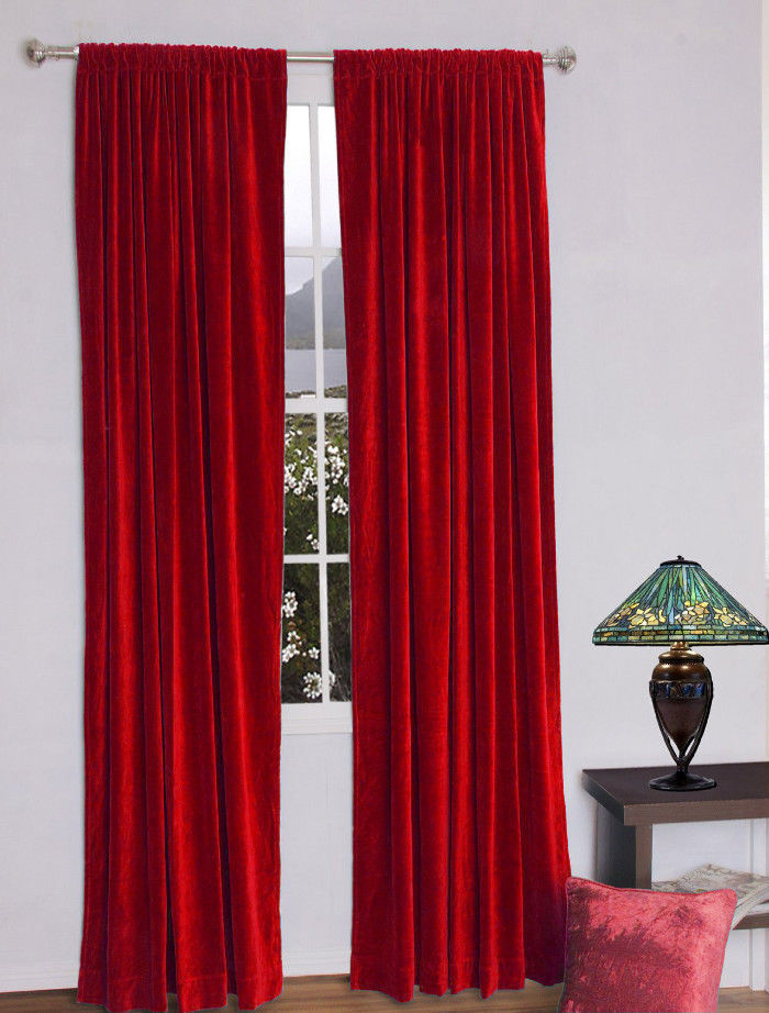 Primary image for Vintage Traditional 100% Blackout Velvet Curtain Lined Drapes 2 Panel - Ruby Red