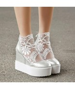 Fashion Sweet Lace Roman Shoes Women Wedge Heels White Platform Pumps Hi... - $37.90