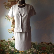 Talbots Women's 2 Piece Light Blue Dress  and  Embroider Jacket Size 10 - $39.59