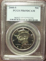2000-S Kennedy Proof Half Dollar PCGS PR69DCAM #G026 - $12.99