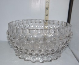 Lg Clear Glass Decorative Centerpiece Hobnail Serving Bowl/Ceiling Light... - $13.85