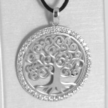 18K WHITE GOLD TREE OF LIFE PENDANT, 1.22 INCHES, ZIRCONIA, MADE IN ITALY image 3