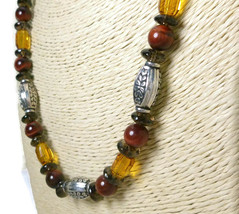 Red Tiger Eye Smoky Quartz Topaz Golden Crystal Sterling Necklace - $59.00