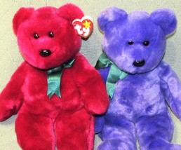 Ty Beanie Buddies RED Purple TEDDY BEARS 1998 2000 Plush Stuffed Vintage... - $23.38