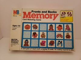 Fronts and Backs Milton Bradley Card Matching Memory Game Complete 1980 - $14.69