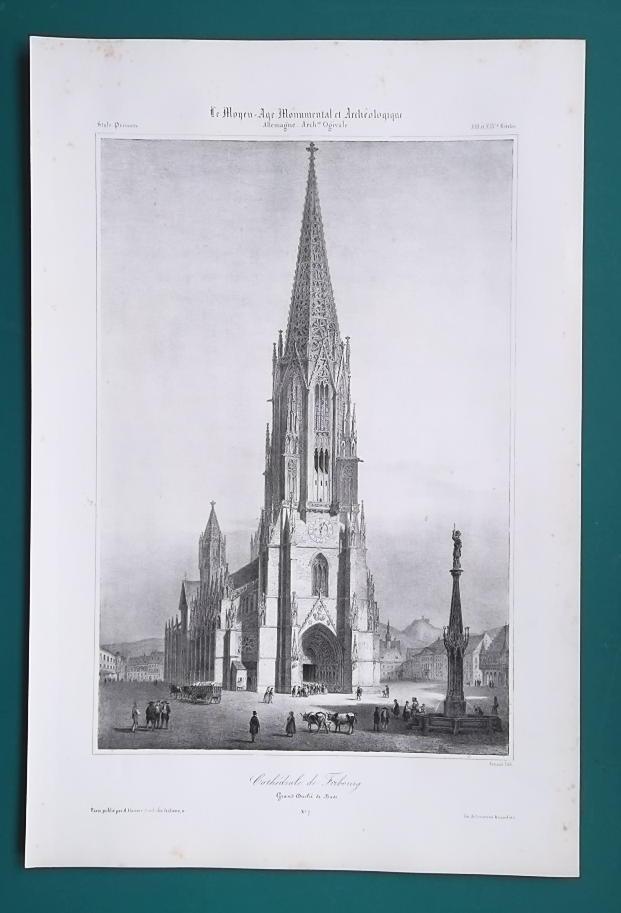 GERMANY Freiburg Munster Cathedral - SUPERB 1843 Antique Print