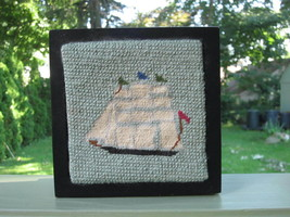 SUDBERRY HOUSE NAUTICAL SHIP PETIT POINT NEEDLEPOINT HAND CRAFTED WOOD B... - $14.24