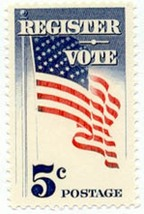 1964 5c Register & Vote, American Flag Scott 1249 Mint F/VF NH - $0.99