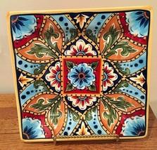 """Tabletops U Unlimited LA BARCA 10 3/8"""" Square Dinner Plate Multicolor Fl... - $46.74"""