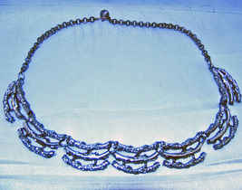 Vintage Aesthetic Silvertone Branches Necklace  - $14.00