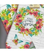 Here Comes Spring Oven Mitt And Tea Towel  Flowers Butterfly NWT Pot Holder - $17.87
