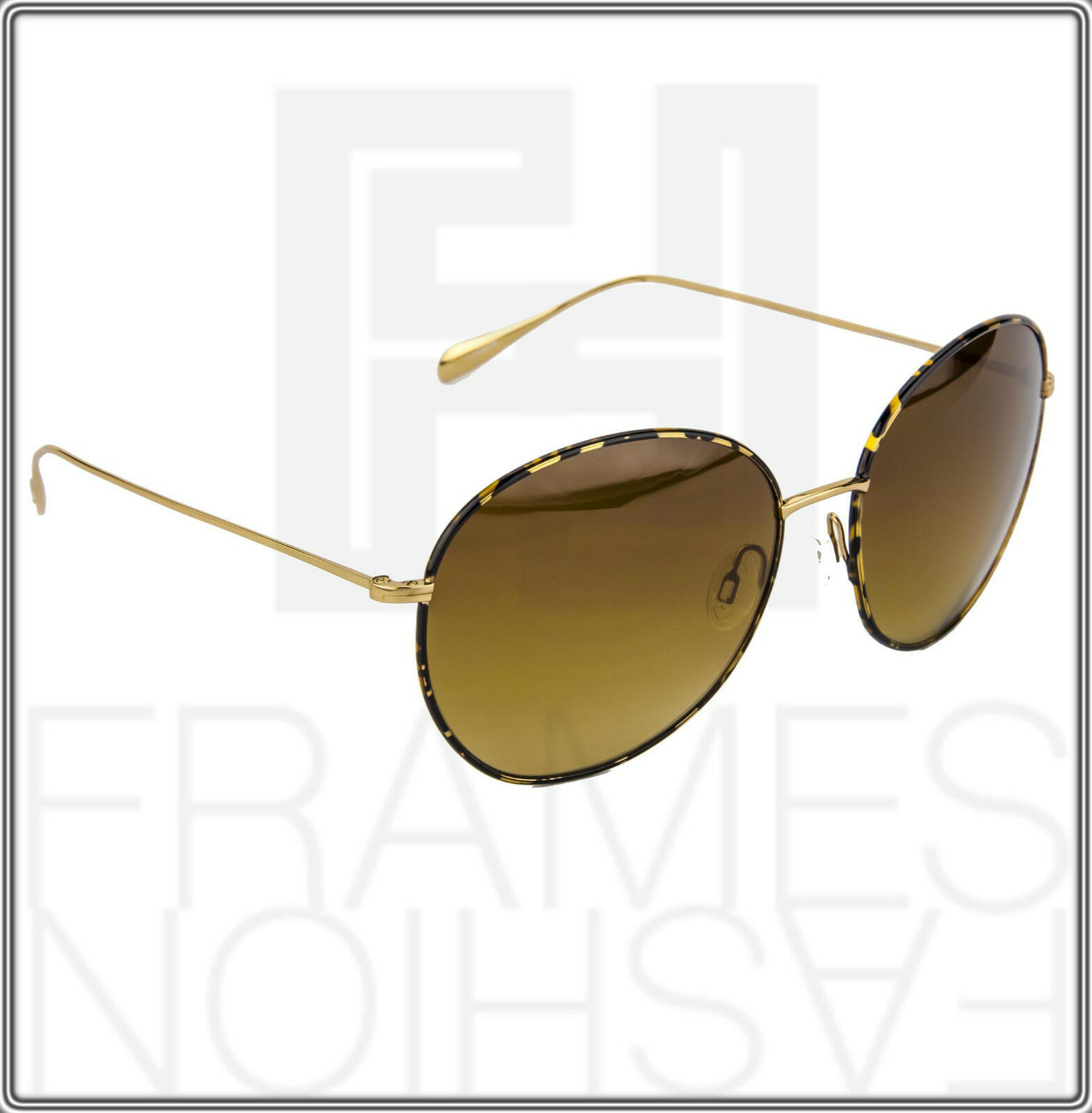 OLIVER PEOPLES BLONDELL Gold Titanium Brown Polarized Round Sunglasses OV 1102ST image 7
