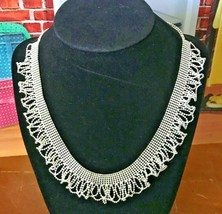"""Vintage Metal Lace Ruffled Collar Silver Tone Tiny Beads Choker Necklace 18-20"""" - $14.50"""