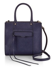 Rebecca Minkoff Mab Mini CrossBody Tote Satchel Leather Navy - ₨10,604.47 INR