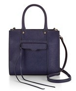 Rebecca Minkoff Mab Mini CrossBody Tote Satchel Leather Navy - £120.53 GBP