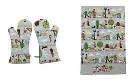 PAIR OF DOG WALKERS TREES GREY RED GREEN COTTON SINGLE OVEN GLOVES & TEA... - $27.28