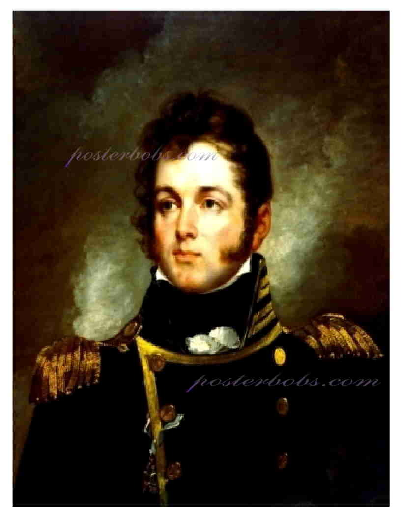 WAR of 1812, Commodore Oliver Hazard Perry, 13 x 10 inches GICLEE CANVAS PRINT