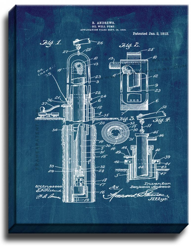 Primary image for Oil Well Pump Patent Print Midnight Blue on Canvas