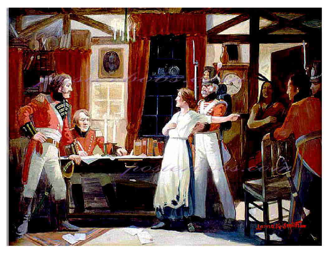 WAR of 1812, LAURA SECORD warns FITZGIBBONS 13 x 10 inches GICLEE CANVAS PRINT