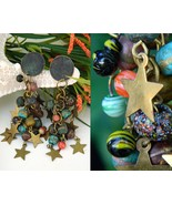 Vintage Brass Stars Earrings Dangle Glass Cluster Beads Long - $15.95