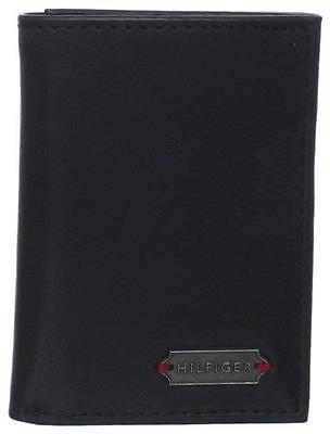NEW TOMMY HILFIGER MEN'S LEATHER CREDIT CARD ID WALLET TRIFOLD BLACK 4699/01
