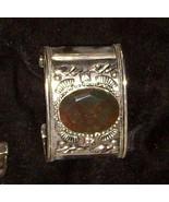 "Silver Cuff Bracelet w Agate 2"" Wide Medieval Elegance  106 - $44.89"