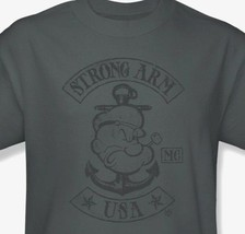 Popeye T-shirt USA retro classic cartoon vintage 100% cotton grey tee pye725 image 2