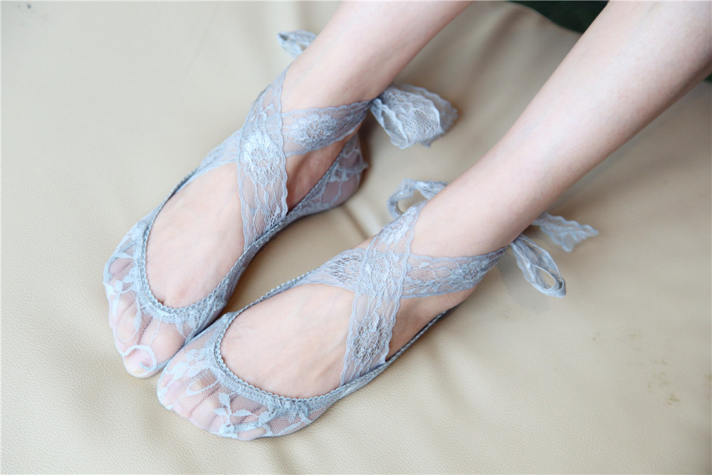 Summer Lady Lace socks Bandage Cross anti-skid socks Women with flat shoes