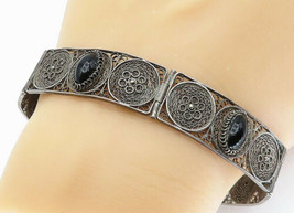 925 Sterling Silver - Vintage Black Onyx Filigree Detail Chain Bracelet ... - $58.09