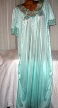 Mint Green Long Nylon Nightgown High Back 1X 2X Semi Sheer Lingerie - $23.00