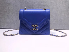 AUTHENTIC NEW CHANEL 2019 ROYAL BLUE CHEVRON CALFSKIN DIAMOND FLAP BAG GHW