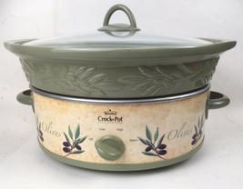 Rival SCVE500 5qt Crock-Pot Stoneware Slow Cooker Green Vine Olives SC20 - $44.55