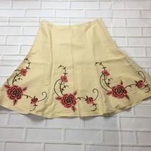 Womens 8 Ann Taylor LOFT Embroidered Linen Blend Skirt Above the Knee - $25.08