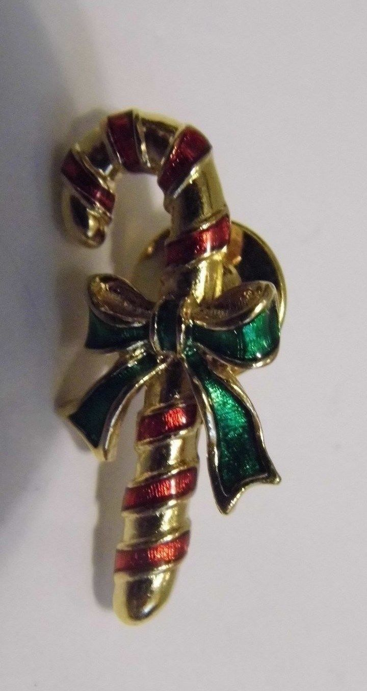 Avon VTG Holiday Chirstmas Candy Cane Brooch Pin Tac Costume Fashion Jewelry