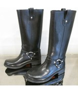 KORS MICHAEL KORS Black Tall Rubber Rain Boots w/ Silver Harness Detail ... - $49.99