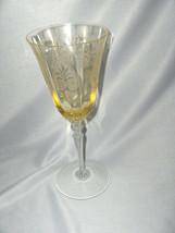 Vintage Fostoria Trojan Topaz Yellow Water Goblet Clear Stem Shields NICE - $64.35