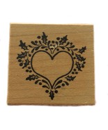 Rubber Wood Stamp Stamping Crafting Holly Holiday Heart PSX C-367 - $9.89