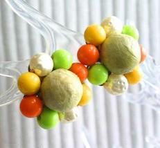 Fabulous Citrus Colors & Faux Pearl Gold-tone Clip Earrings 1960s vintag... - $12.30