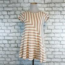 Puella Anthropologie Women's Orange & Brown Short Sleeve Blouse Size XS ... - $22.49