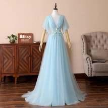 Cheap Sky Blue Tulle A Line V-Neck Prom Desses Custom Made Prom Party Go... - $165.99