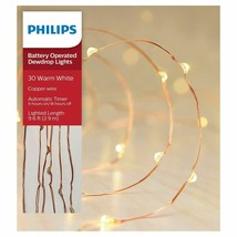 Philips 30ct Christmas Battery Operated LED Dewdrop Fairy Lights Warm White NEW image 1