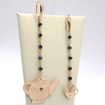 """925 STERLING ROSE SILVER """"LE FAVOLE"""" PENDANT EARRINGS TEAPOT AND CUP, SPINEL"""
