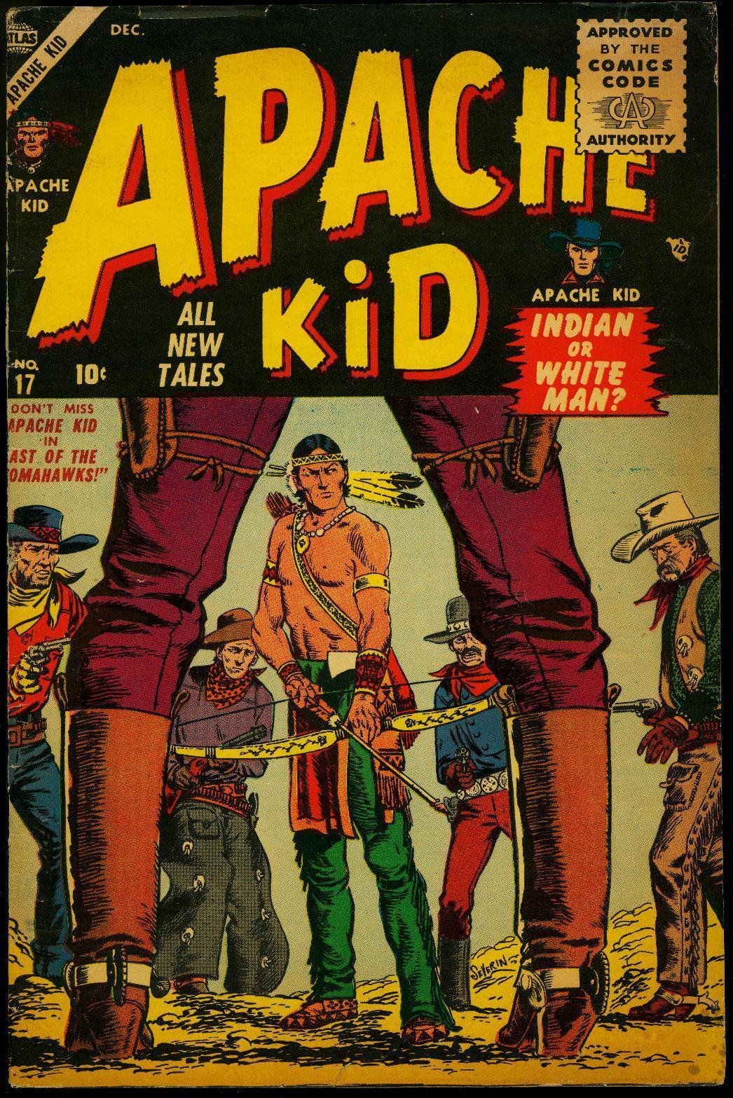 Apache Kid #17 1955- Severin cover- Atlas Western VG