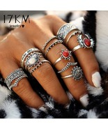 17KM® 14 pcs/Set Vintage Silver Color Moon And Sun Midi Ring Set For Wom... - $5.49