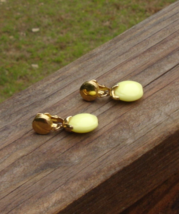 Vintage Crown Trifari Yellow Apple Dangle Waterfall Earrings - $25.00