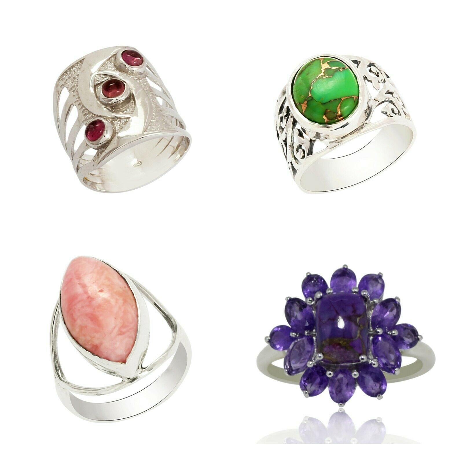 Shine Jewel Natural Gemstone Handmade Collection 925 Sterling Silver Ring