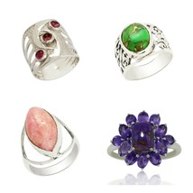 Shine Jewel Natural Gemstone Handmade Collection 925 Sterling Silver Ring  - $22.99
