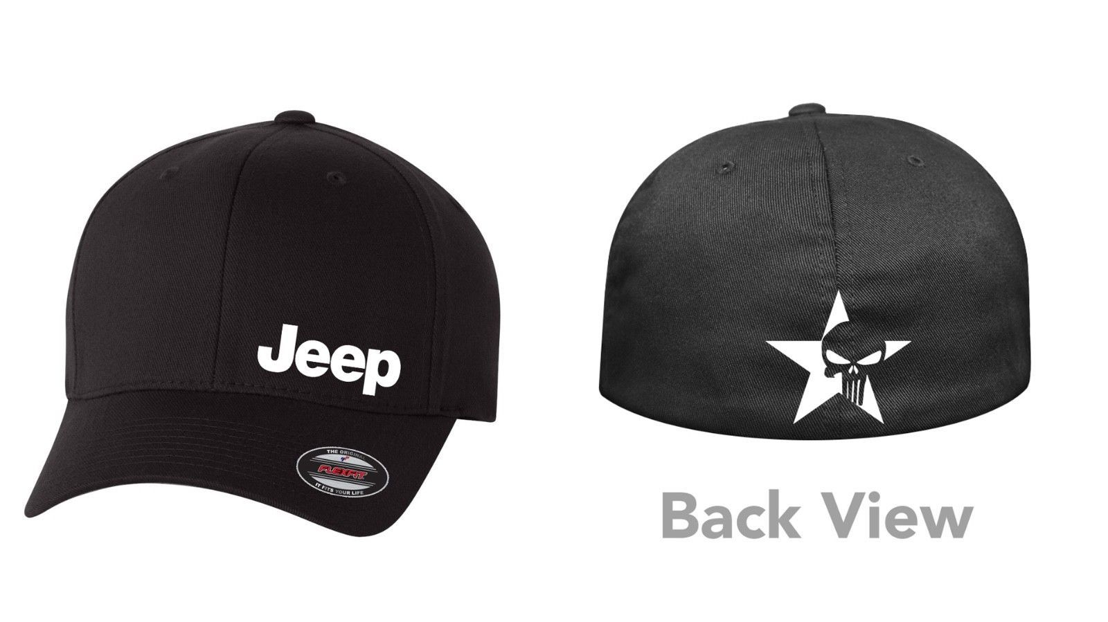Primary image for SKULL JEEP FLEXFIT HAT CURVED or FLAT BILL *FREE SHIPPING in BOX*
