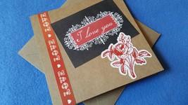 I Love You - handmade blank greeting card - recycled kraft paper valentine - $3.00